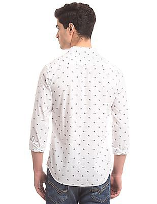 True Blue Fish Print Slim Fit Shirt