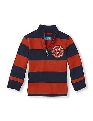 The Children's Place Toddler Boy Orange Striped Half Zip Sweatshirt