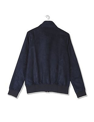 Flying Machine Women Solid Suede Bomber Jacket