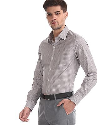 Arrow Brown Slim Fit Printed Shirt
