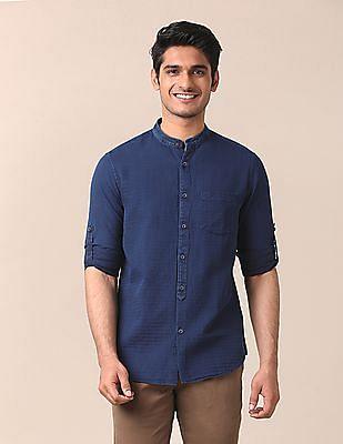 True Blue Slim Fit Mandarin Collar Shirt