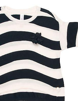 U.S. Polo Assn. Kids Girls Striped Uneven Hem Top