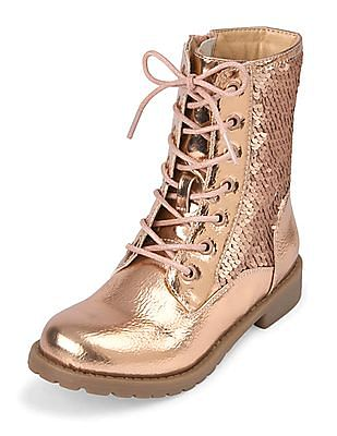 The Children's Place Girls Rose Gold Flip Sequin Lace-Up Kacey Boot