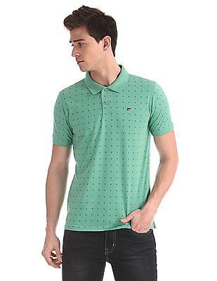 Ruggers Green Regular Fit Printed Polo Shirt