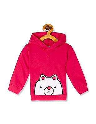 Donuts Pink Girls Hooded Appliqued Sweatshirt