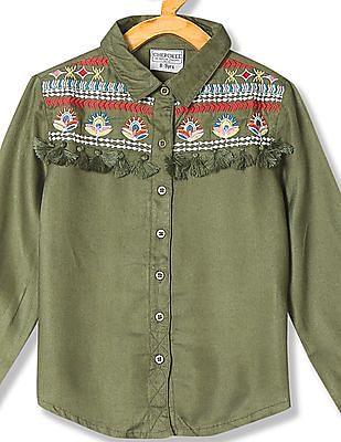 Cherokee Girls Embroidered Panel Woven Shirt