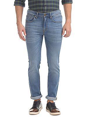 Arvind Skinny Fit Whiskered Jeans