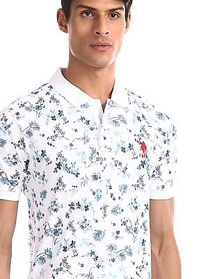 U.S. Polo Assn. White Floral Print Polo Shirt