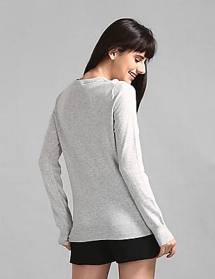 GAP Grey Crew Neck Peace Intarsia Sweater