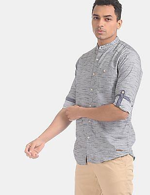 Cherokee Men Grey Mandarin Collar Heathered Shirt