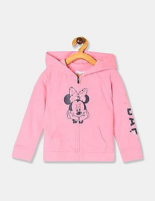 GAP Toddler Girl Pink Minnie Mouse Print Hooded Sweatshirt