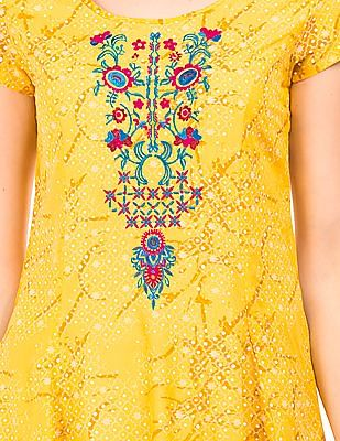 Bronz Printed Embroidered Fit And Flare Dress