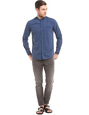True Blue Mandarin Collar Slim Fit Shirt