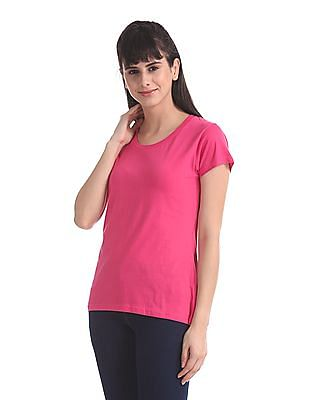 SUGR Pink Round Neck Solid T-Shirt