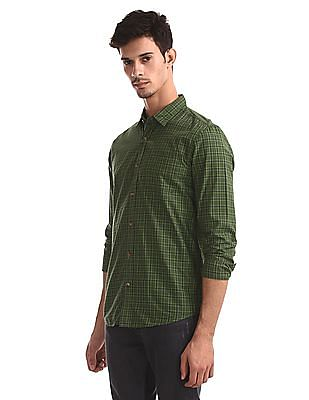 Ruggers Green Cutaway Collar Check Shirt