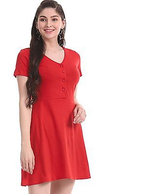 Aeropostale Red Slub Knit Fit And Flare Dress