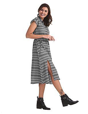 Elle Studio Grey Printed Shirt Dress