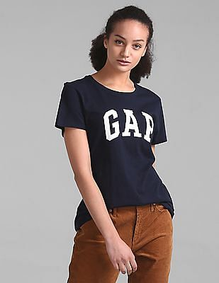 GAP Women Blue Logo Short Sleeve Crewneck T-Shirt
