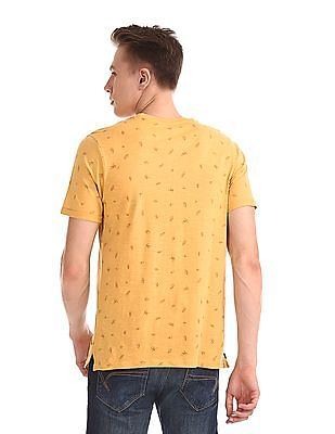 Cherokee Yellow Printed Vented Hem T-Shirt
