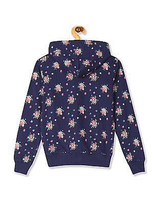 Cherokee Girls Floral Print Hooded Sweatshirt