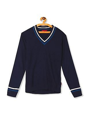 Izod Stripe Trim Patterned Sweater