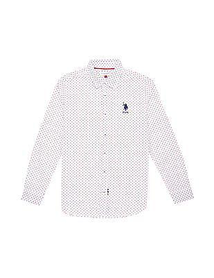 U.S. Polo Assn. Kids Boys Dot Print Cotton Shirt