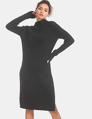 GAP Women Black Turtle Neck Sweater Dress