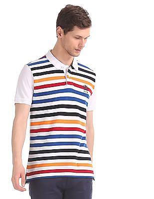 U.S. Polo Assn. Multi Colour Regular Fit Striped Polo Shirt
