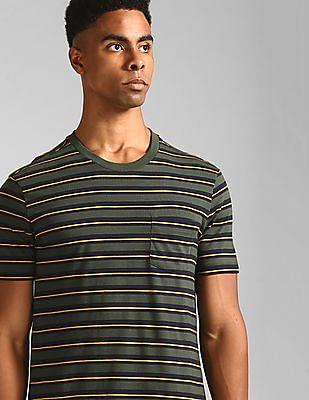 GAP Green Patch Pocket Striped T-Shirt