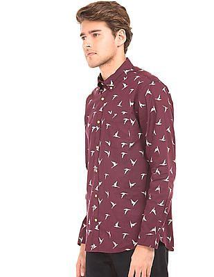 Cherokee Albatross Print Button Down Shirt
