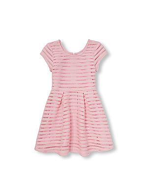 The Children's Place Girls Short Cap Sleeve Stripe Jacquard Mesh Flare Dress