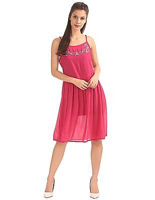 Bronz Strappy Crinkled Dress