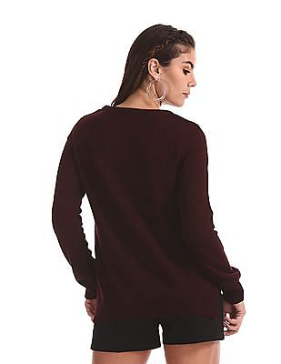 Cherokee Red Round Neck Solid Sweater