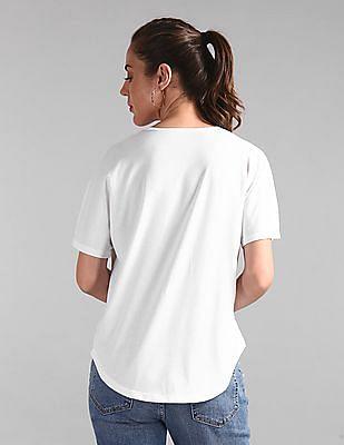 GAP White Softspun Flutter Sleeve V-Neck Top
