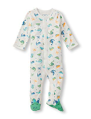 The Children's Place Baby Boys White Layette Long Sleeve Dinosaur Print Footed Sleep And Play