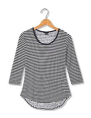 Nautica Elbow Sleeve Striped Top