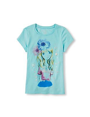The Children's Place Girls Short Sleeve Princess Girl Graphic Tee