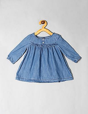 GAP Blue Toddler Girl Ruffle Denim Dress
