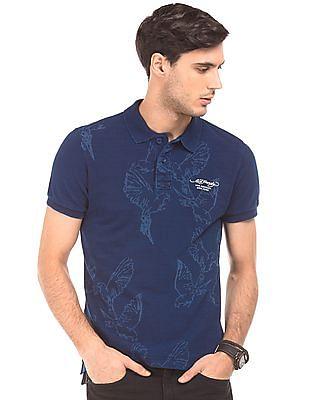 Ed Hardy Bird Print Regular Fit Polo Shirt
