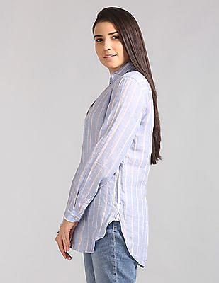 GAP Women Blue Popover Boyfriend Tunic Linen Stripe Shirt