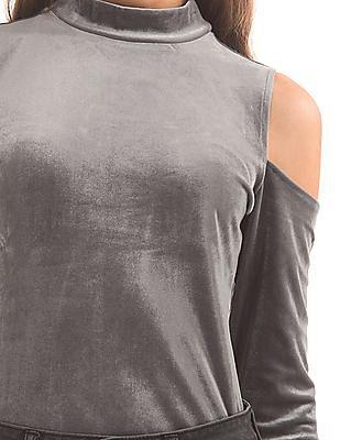 Aeropostale Cold Shoulder Velvet Top