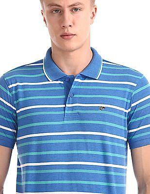 Ruggers Blue Short Sleeve Striped Polo Shirt