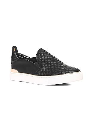 Stride Black Metallic Accent Quilted Slip On Shoes
