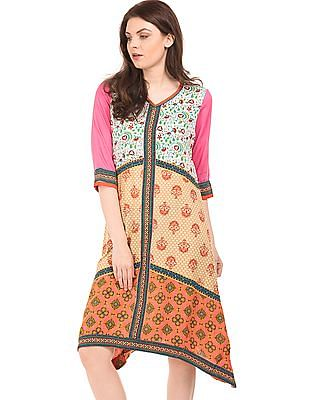Anahi Dipped Hem Combination Print Kurta