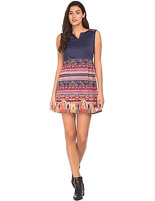 Bronz Combination Print Sleeveless Dress