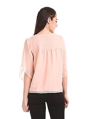 Elle Studio Smocked Yoke Patterned Top