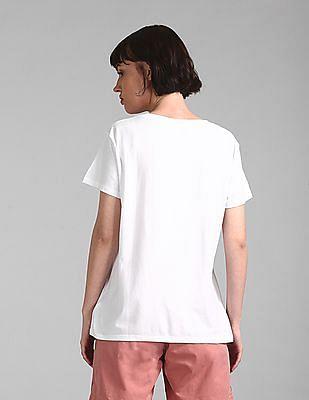 GAP White Crew Neck Graphic T-Shirt