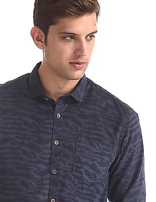 Cherokee Blue Camo Print Corduroy Shirt