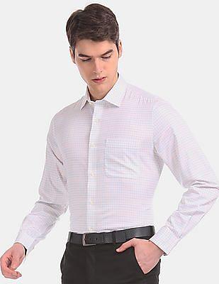 Arvind Men White Regular Fit Patterned Check Formal Shirt