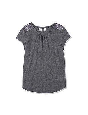 GAP Girls Grey Short Sleeve Sequin Shoulder Tee